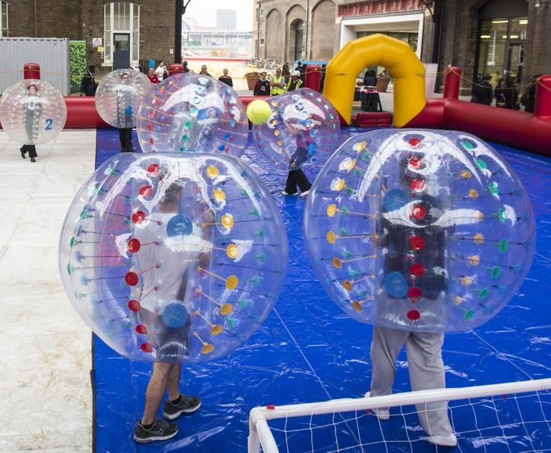 Kids Playing Bubble Football