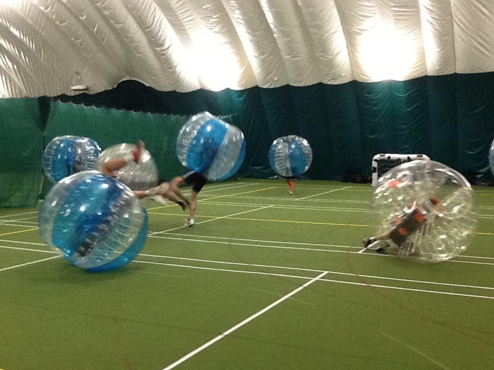 People Falling Over During Bubble Football