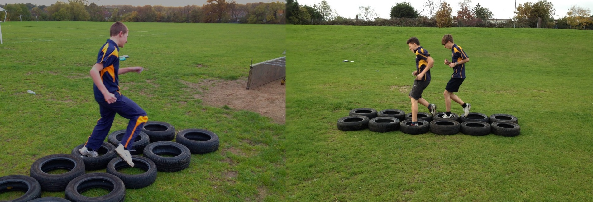 Kids Participating In Assault Course